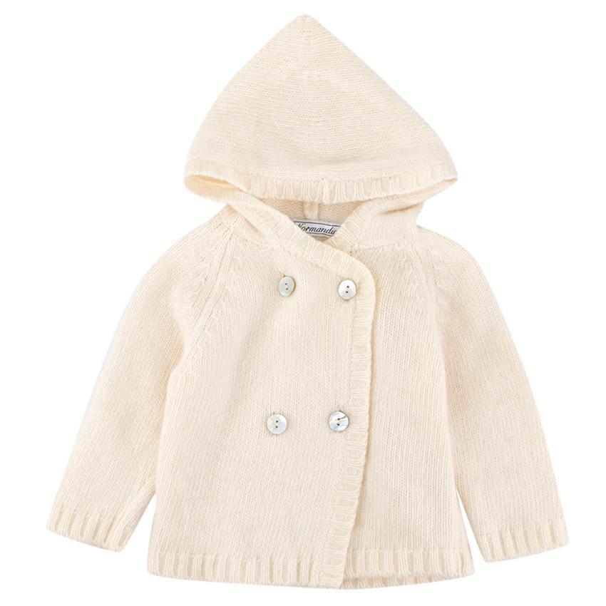 Normandie Baby Hooded Bone white Cardigan