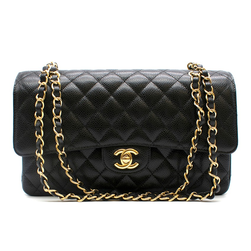 Chanel Black Caviar Leather Classic Double Flap Bag