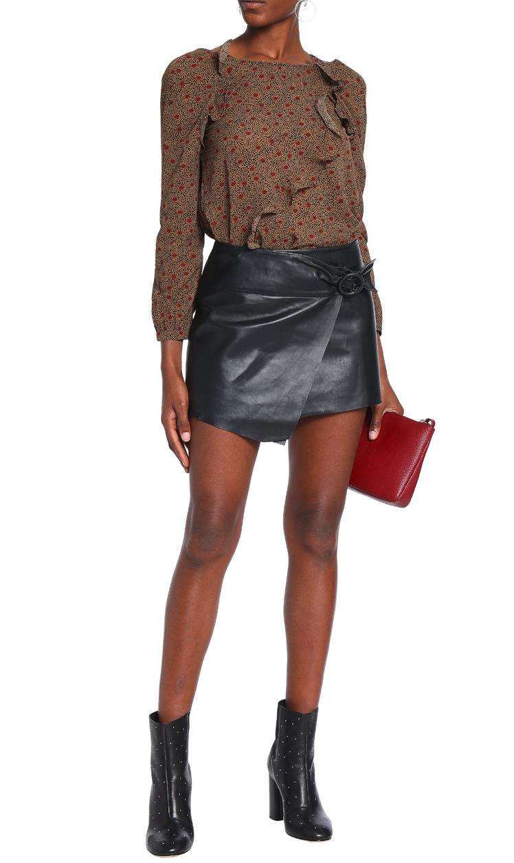 Ba&Sh Wrap effect leather mini skirt