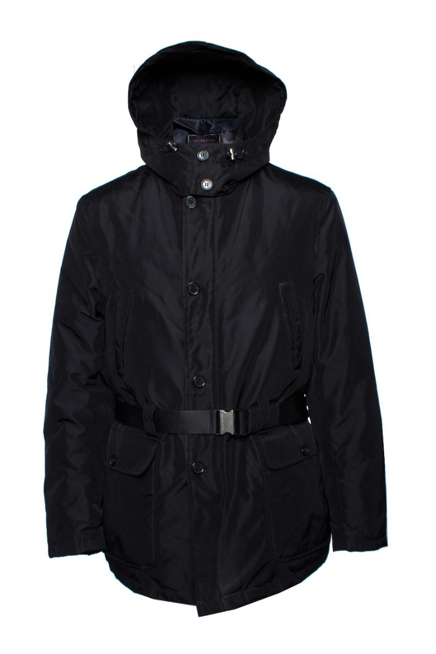 Valentino black parka jacket with removable hood