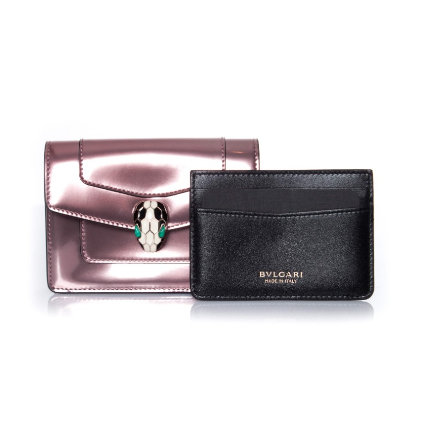 Bvlgari Serpenti brushed metallic calf leather purse and card holder