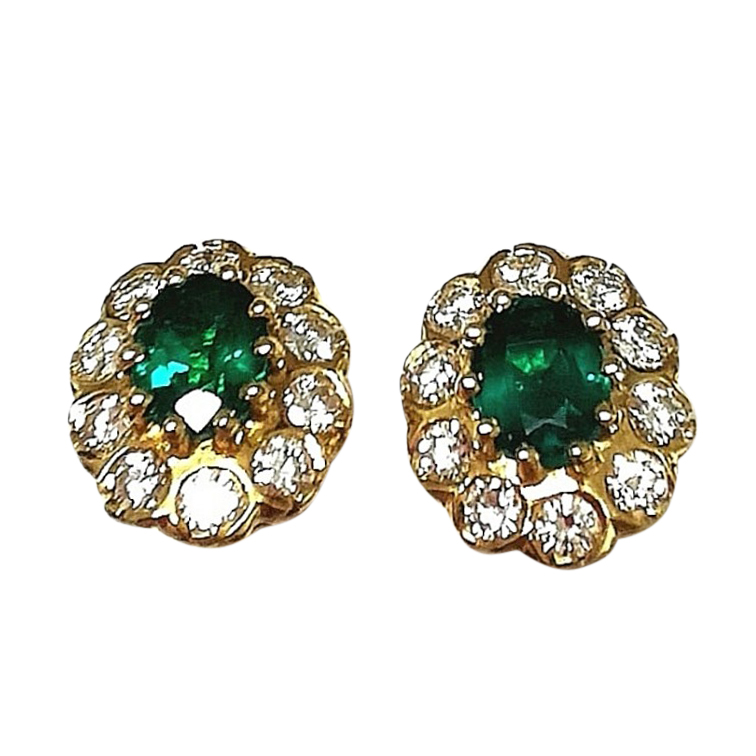 Bespoke Emerald & Diamond Cluster Earrings