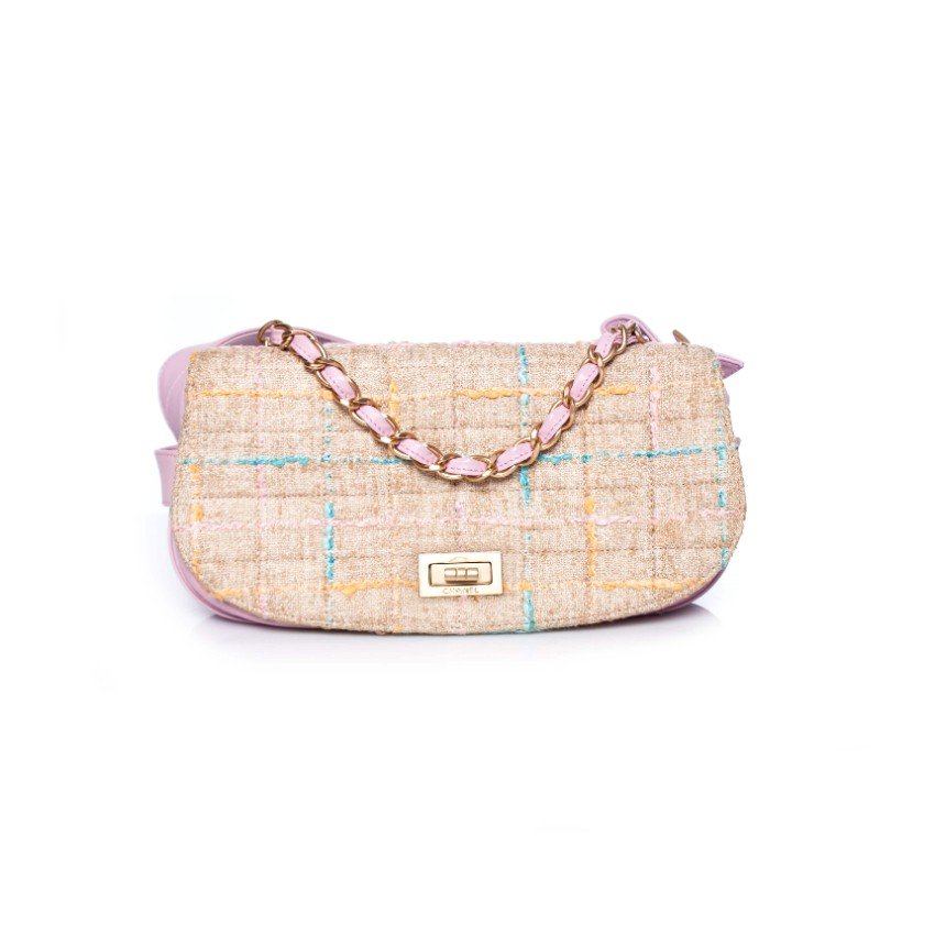 Chanel vintage tweed shoulder bag with original receipt
