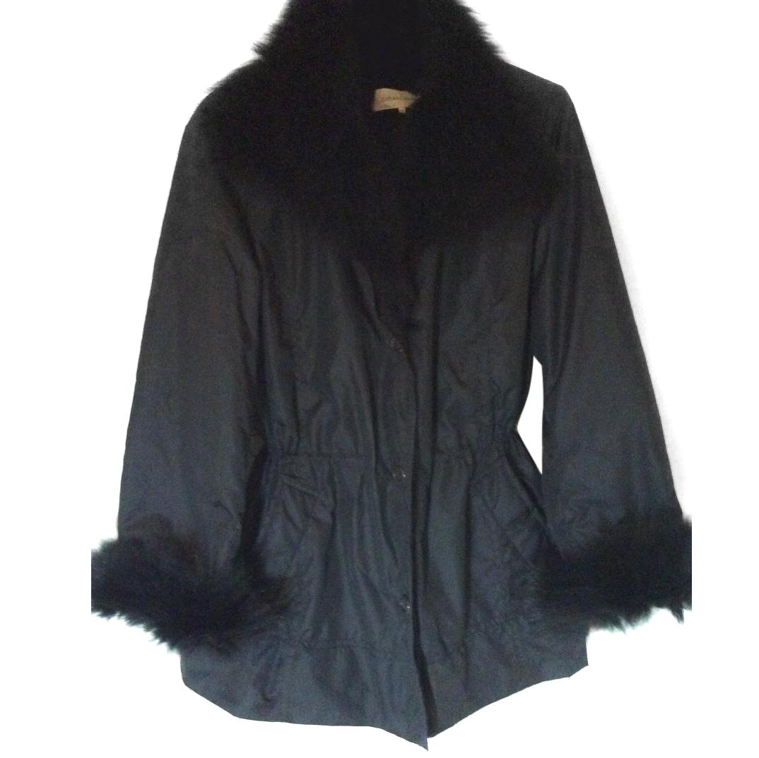 Gerard Darel Black Jacket With Fox & Rabbit Fur Cuffs