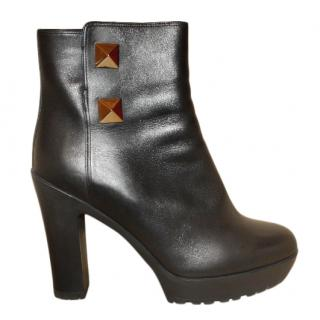 Valentino fur lined leather ankle boots