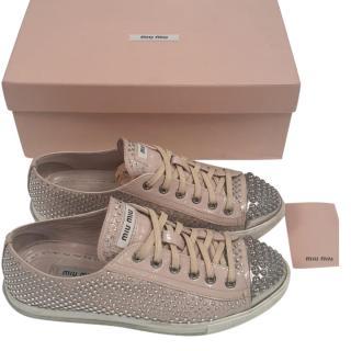 Miu Miu Swarovski Embellished Naplak Sneakers