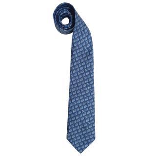 Hermes Blue SIlk Printed Vintage Tie