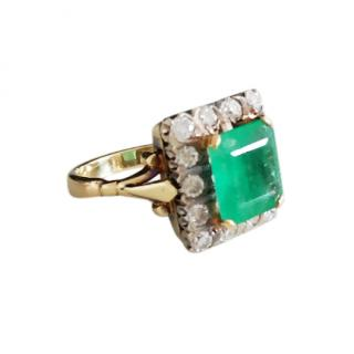 Bespoke Natural 5.5ct Emerald  & Diamond Cocktail Ring