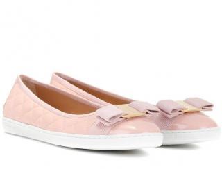 Salvatore Ferragamo Pale Pink Quilted Ballerina Flats