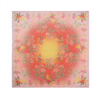 Alexander McQueen Pink Silk Chiffon Printed Scarf