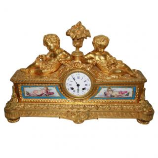 Harrods Miroy Freres of Paris Large French Cherubs Mantel Clock