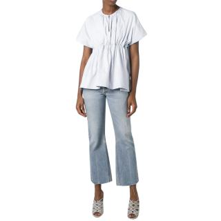 Victoria Victoria Beckham White Ruched Cotton Voile Top