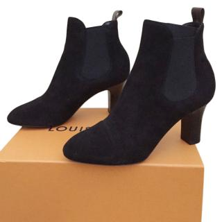 Louis Vuitton Black Goat Suede Ankle Boots
