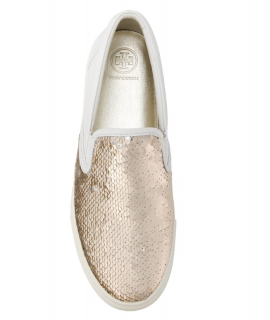 Tory Burch Carter Gold/Snow White Sequin Slip-On Sneakers