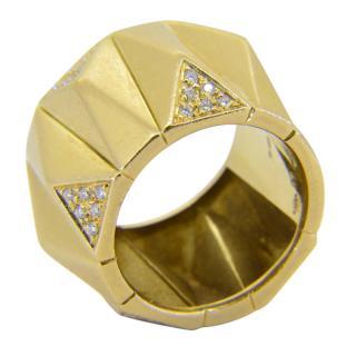Versace 18k Yellow Gold Harlequin Diamond RIng