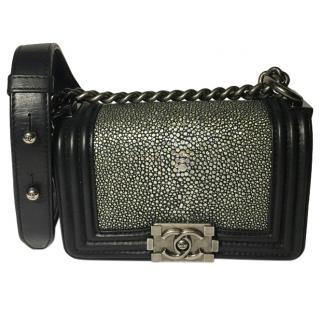 Chanel Black & Silver Stingray Boy Bag