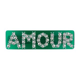 Gucci Green Resin Crystal Amour Hairclip