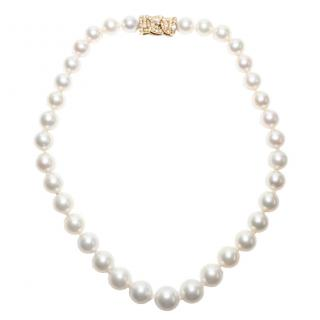 Garrard Vintage South Sea Pearl Necklace W/ Diamond 18k Gold Bow