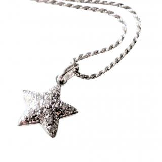 Bespoke 18kt White Gold Sapphire Star Pendant Necklace