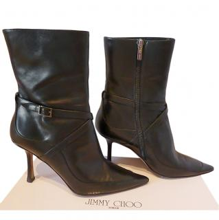 Jimmy Choo Black Leather Wrap Strap Ankle Boots