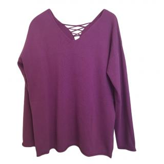 Max Mara Purple Wool Lace-Up Jumper