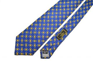 Fendi Men's Mogram Blue SIlk Tie
