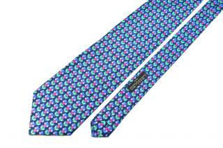Leonard Paris Blue & Pink SIlk Printed Tie