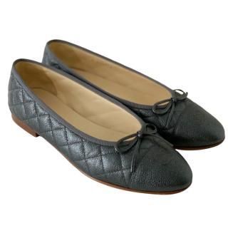 Chanel Petrol Grey Caviar Leather Ballerina Flats