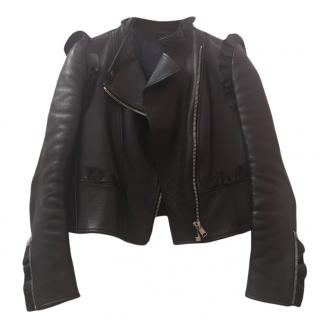 Alexander McQueen ruffled black leather jacket