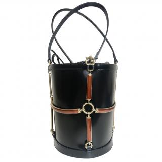 Gucci Black Leather Harness Bucket Bag