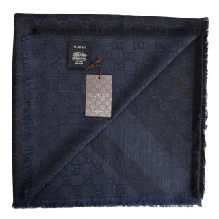 Gucci Navy Wool & Silk Scarf