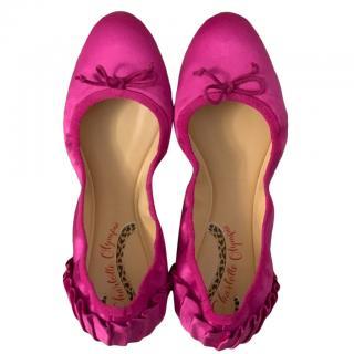 Charlotte Olympia Pink Elastic Ballerina Flats
