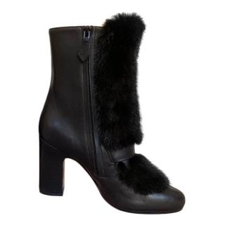 Hermes Leather & Mink Fur Ankle Boots