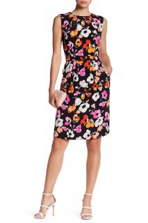 Oscar De La Renta Silk Floral Print Dress