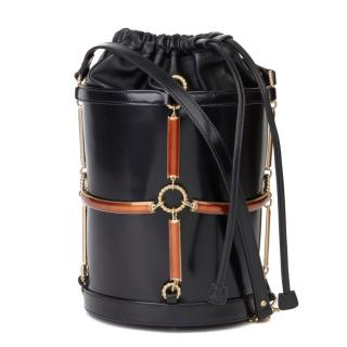 Gucci Black Leather & Vinyl Harness Bucket Bag