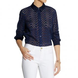 Victoria Beckham Navy Broderie Anglaise Blouse