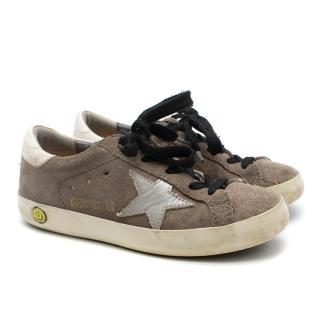 Golden Goose Kids Grey Superstar Sneakers in suede