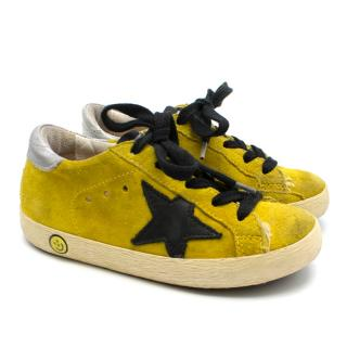 Golden Goose Kids Yellow Superstar Sneakers in suede