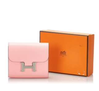 Hermes Epsom Leather Pink Constance Compact Wallet