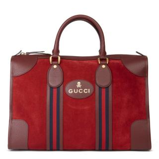 Gucci Suede & Leather Web Stripe Duffle Bag