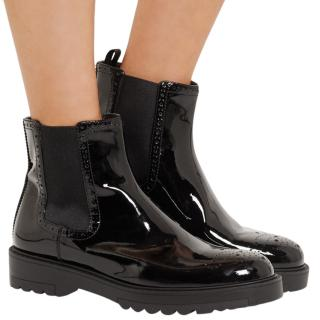 Prada Patent Leather Chelsea Ankle Boots