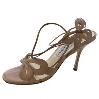 Jimmy Choo Camel Butterfly Strappy Sandals
