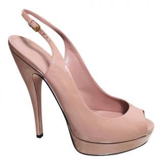 Gucci Dusky Pink Patent Slingback Sandals