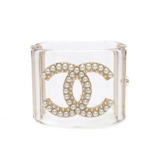 Chanel Perspex Pearl Embellished CC Cuff