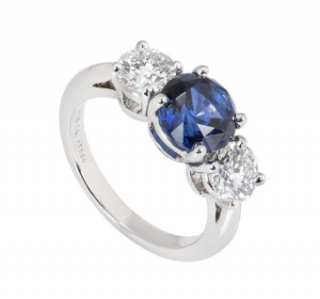 Tiffany & Co. Diamond and Sapphire Platinum Ring