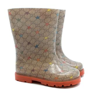Gucci kids monogram rubber rain boot