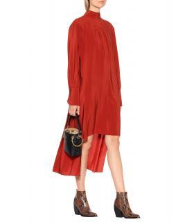 Chloe Red Ochre SIlk Shirt Dress