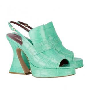 Sies Marjan Green Croc Embossed Ellie 120 Sandals