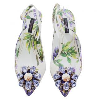 Dolce & Gabbana Floral Print Crystal Embellished Slingback Sandals