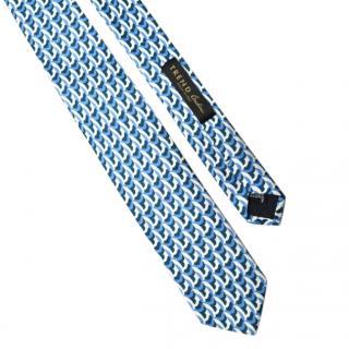 Trend by Corneliani Blue & White Silk Printed Tie